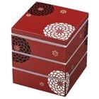 Hakoya 15.0 Square 3 Layers Lunch Box Aka Hyakka