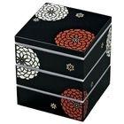Hakoya 15.0 Square 3 Layers Lunch Box Kuro Hyakka