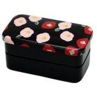 Hakoya Nunobari 2 Layers Lunch Box Black Flower