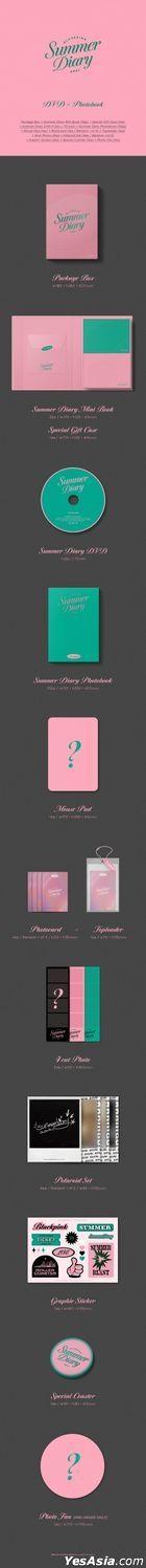 BLACKPINK 2021 Summer Diary (DVD + Mini Book + Summer Diary Photobook + Mouse Pad + Photo Card + Toploader + 4 Cut Photo + Polaroid Set + Sticker + Coaster + Photo Fan) (Korea Version)